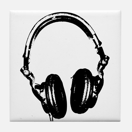 Dj Headphones Stencil Style T Shirt Tile Coaster