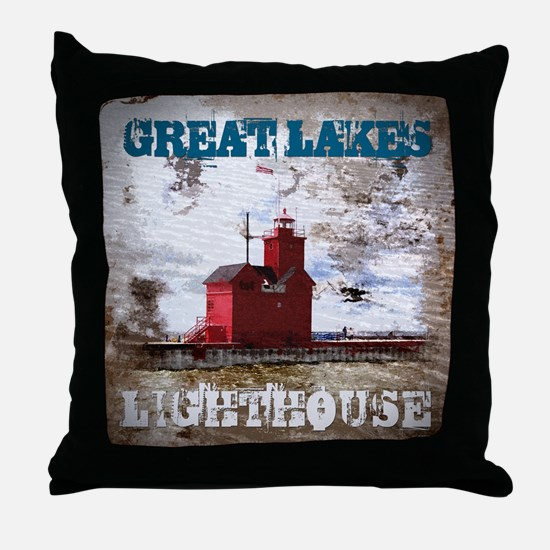 Great Lakes Lighthouse Throw Pillow