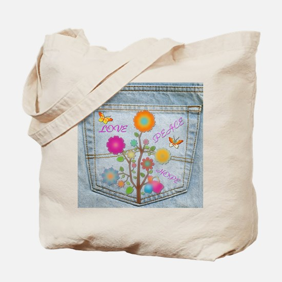 Denim Pocket Peace Love Hope Tote Bag