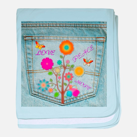 Denim Pocket Peace Love Hope baby blanket
