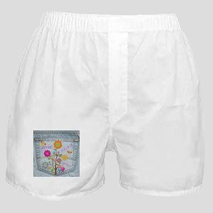 Denim Pocket Peace Love Hope Boxer Shorts