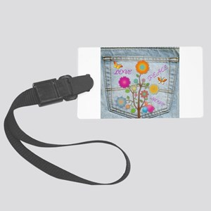 Denim Pocket Peace Love Hope Large Luggage Tag