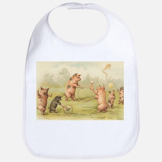 Playful Pigs Cotton Baby Bib