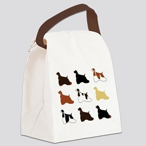Colorful Cockers in a Grid Canvas Lunch Bag