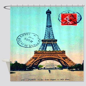 Vintage Paris Eiffel Tower Blue Shower Curtain