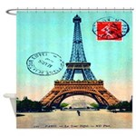 Vintage Paris Eiffel Tower Blue Shower Curtain