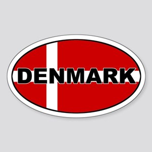 Danish Flag Oval Sticker