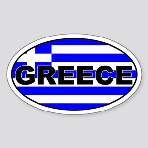Greek / Greece Flag Oval Sticker