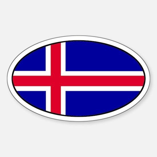 Icelandic Flag Oval Decal