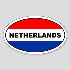 Dutch / The Netherlands Flag Oval Sticker