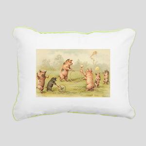 Playful Pigs Rectangular Canvas Pillow