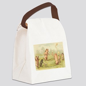 Playful Pigs Canvas Lunch Bag