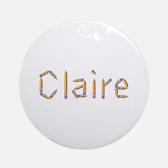 Claire Pencils Round Ornament