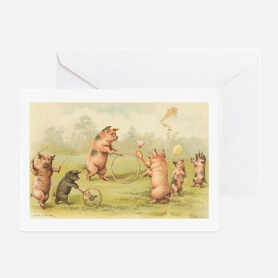 Playful Pigs Greeting Card