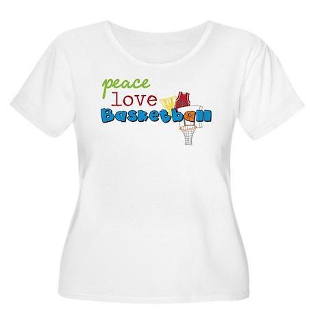 Peace Love Basketball Women's Plus Size Scoop Neck