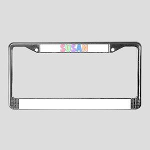Susan Rainbow Pastel License Plate Frame