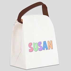 Susan Rainbow Pastel Canvas Lunch Bag