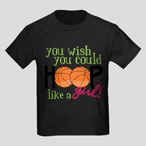 Hoop Like A Girl Kids Dark T-Shirt