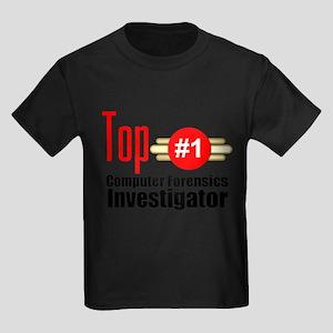 Top Computer Forensics Investigator Kids Dark T-Sh