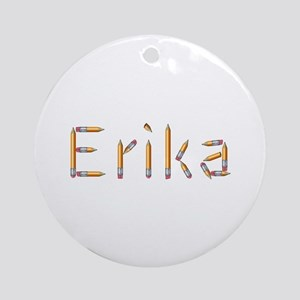 Erika Pencils Round Ornament