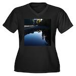 River Reflections Women's Plus Size V-Neck Dark T-