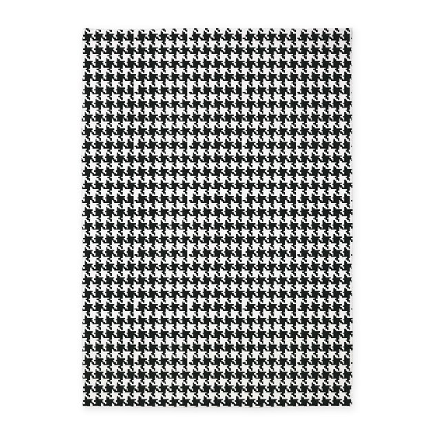 Black And White Houndstooth 5 X7 Area Rug By Organicpixels