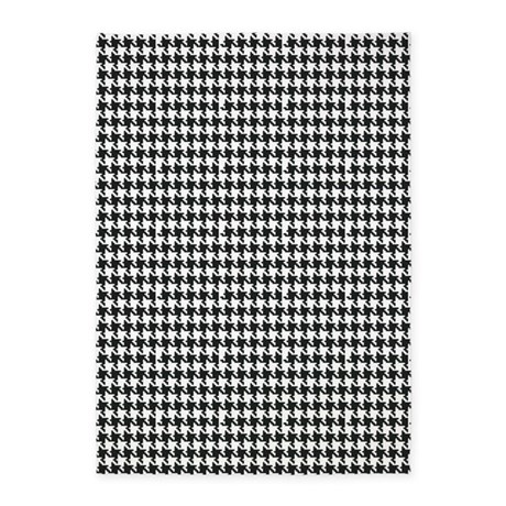 Black And White Houndstooth 5 X7 Area Rug