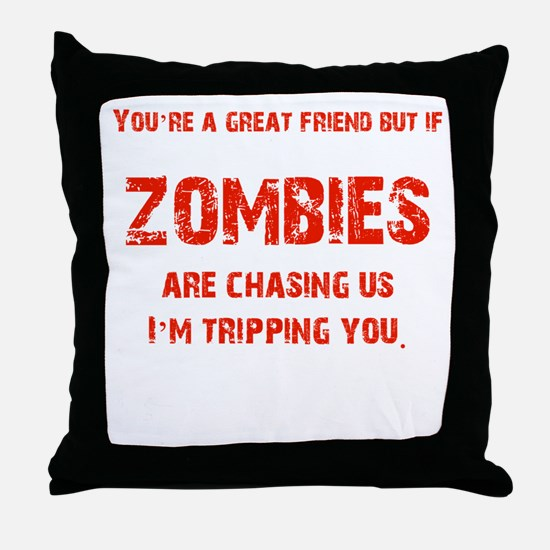 Zombies Chasing us! Throw Pillow
