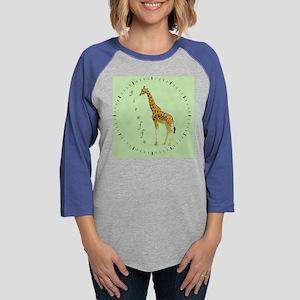 giraffe clock Womens Baseball Tee
