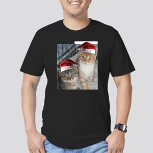 Christmas Tabby Cats Men's Fitted T-Shirt (dark)
