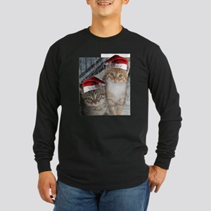 Christmas Tabby Cats Long Sleeve Dark T-Shirt