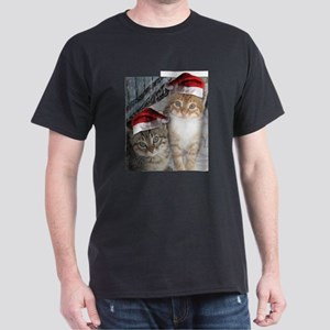 Christmas Tabby Cats Dark T-Shirt