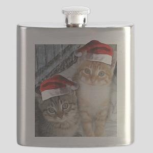 Christmas Tabby Cats Flask
