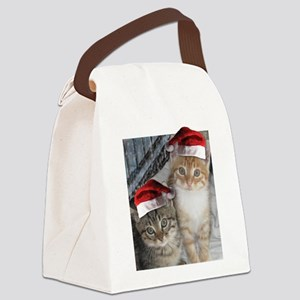 Christmas Tabby Cats Canvas Lunch Bag