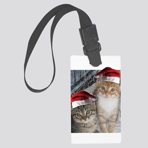 Christmas Tabby Cats Large Luggage Tag
