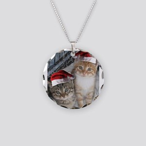 Christmas Tabby Cats Necklace Circle Charm