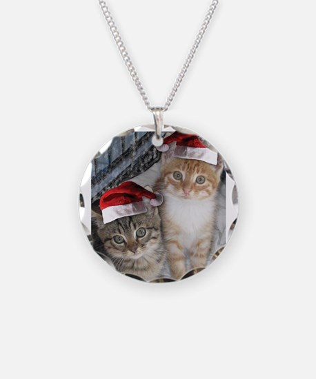 Christmas Tabby Cats Necklace