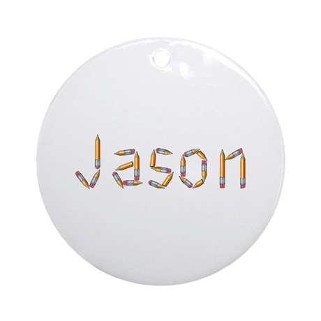 Jason Pencils Round Ornament