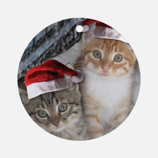 Christmas Tabby Cats Ornament (Round)