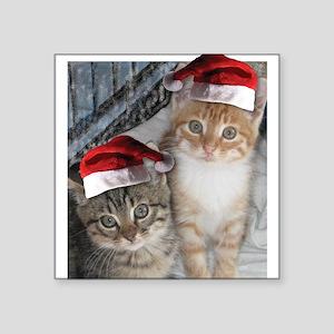 "Christmas Tabby Cats Square Sticker 3"" x 3"""
