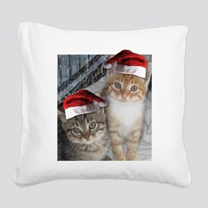 Christmas Tabby Cats Square Canvas Pillow