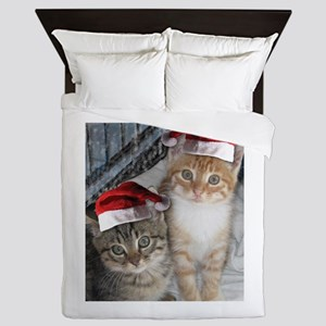 Christmas Tabby Cats Queen Duvet