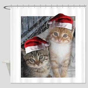 Christmas Tabby Cats Shower Curtain