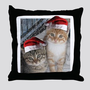Christmas Tabby Cats Throw Pillow