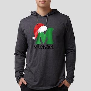 Christmas Santa Hat M Monogram Mens Hooded Shirt