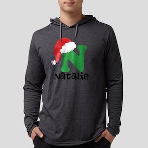 Christmas Santa Hat N Monogram Mens Hooded Shirt