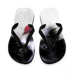 Papillon (White and Black) Flip Flops