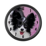 Papillon (White and Black) Large Wall Clock