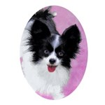 Papillon (White and Black) Oval Ornament