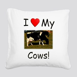 Love My Cows Square Canvas Pillow